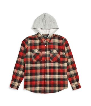 Brixton Men's Bowery Hood L/S Flannel - Red/Blk Combo