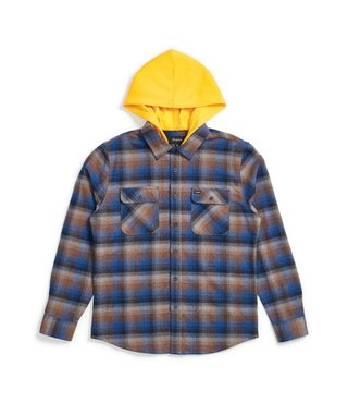 Brixton Men's Bowery Hood L/S Flannel - Navy Gold