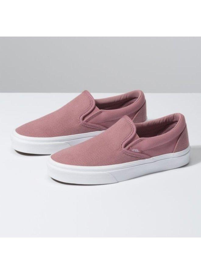 Vans Classic Slip On Shoes - Herringbone/Rose