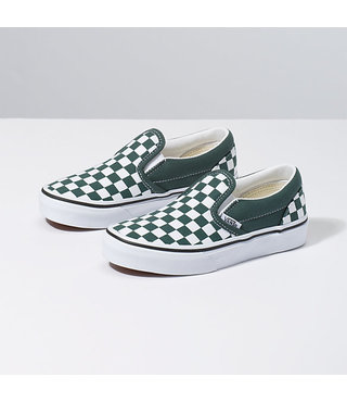 Vans Kids Classic Slip-On Shoes - Checker Green