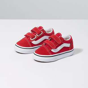 Vans Toddler Old Skool V Shoes - Racing Red/True Wht