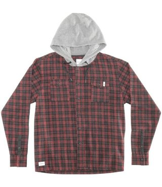 RDS Hooded Alpha Button Up - Red Plaid/Ht Gry