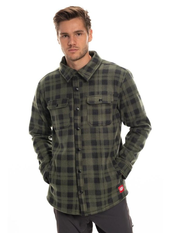 686 Men's Sierra Fleece Flannel - Dark Green Plaid