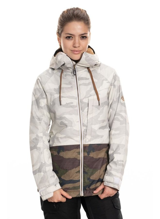 686 Women's Athena Insulated Jacket - White Camo Clrblk