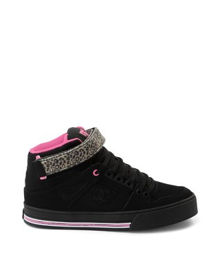 DC Women's Pure High Top V Leather Shoes - Blk/Pink/Blk