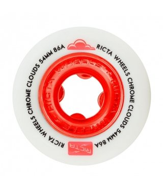 54mm Ricta Chrome Clouds Red 86a Skateboard Wheels