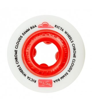 56mm Ricta Chrome Clouds Red 86a Skateboard Wheels
