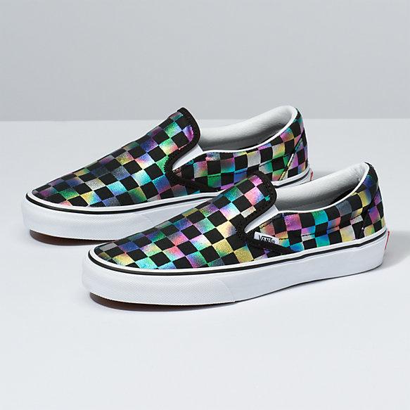 Vans Classic Slip On Shoes - Iridescent Checker