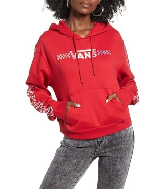 Shine It Crop Pullover Hoodie - Chili Pepper