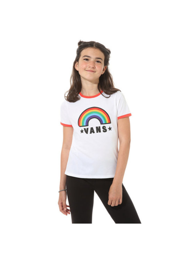 Girls Rainbow Patch T-Shirt - Wht/Red