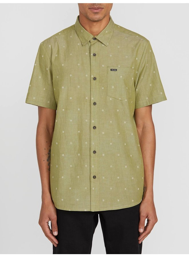 Archive Mark Short Sleeve Button Up - Moss