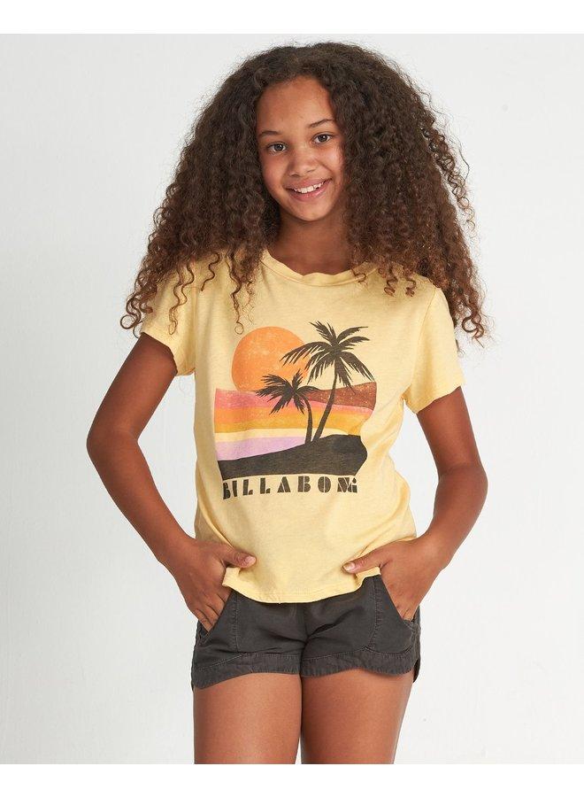 Girls' Retro Sunset T-Shirt - Canary