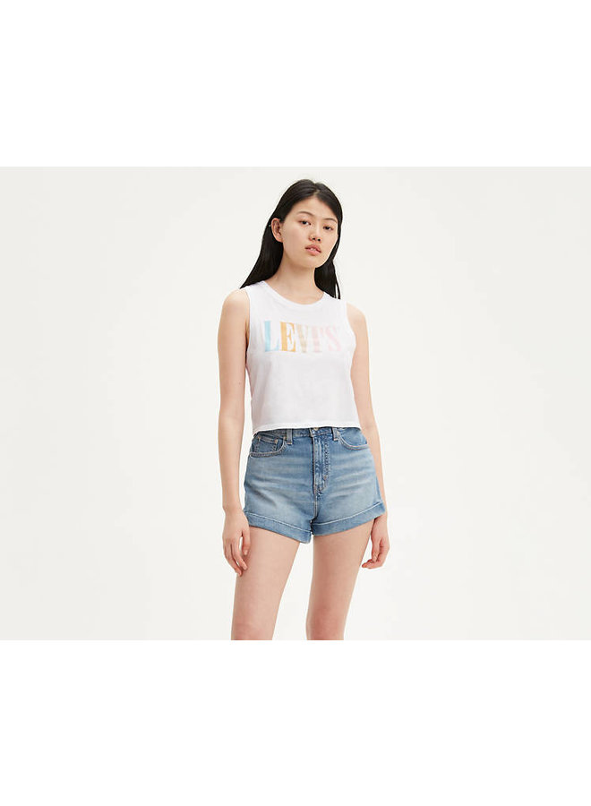 90's Serif Logo Cropped Tank Top - White