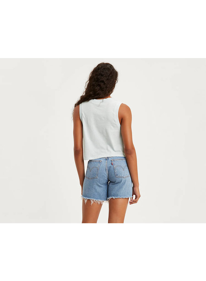Graphic Cropped Tank Top - Baby Blue