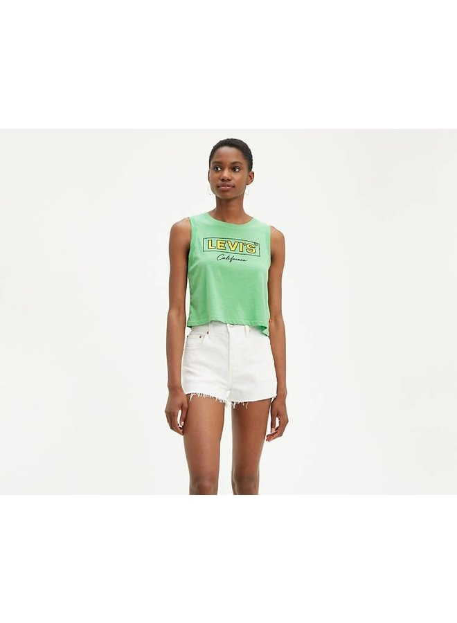 Graphic Cropped Tank Top - Absinthe Green