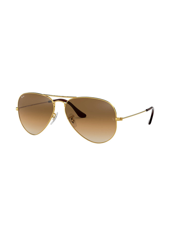 Aviator Metal Gold Sunglasses w/ Crystal Brn Gradient Lens