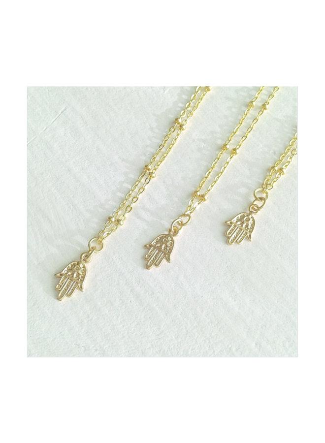 Ankara Tiny Hamsa Charm Necklace Gold