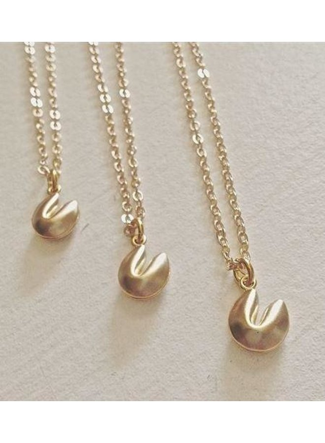 Benky Tiny Fortune Cookie Charm Necklace Gold