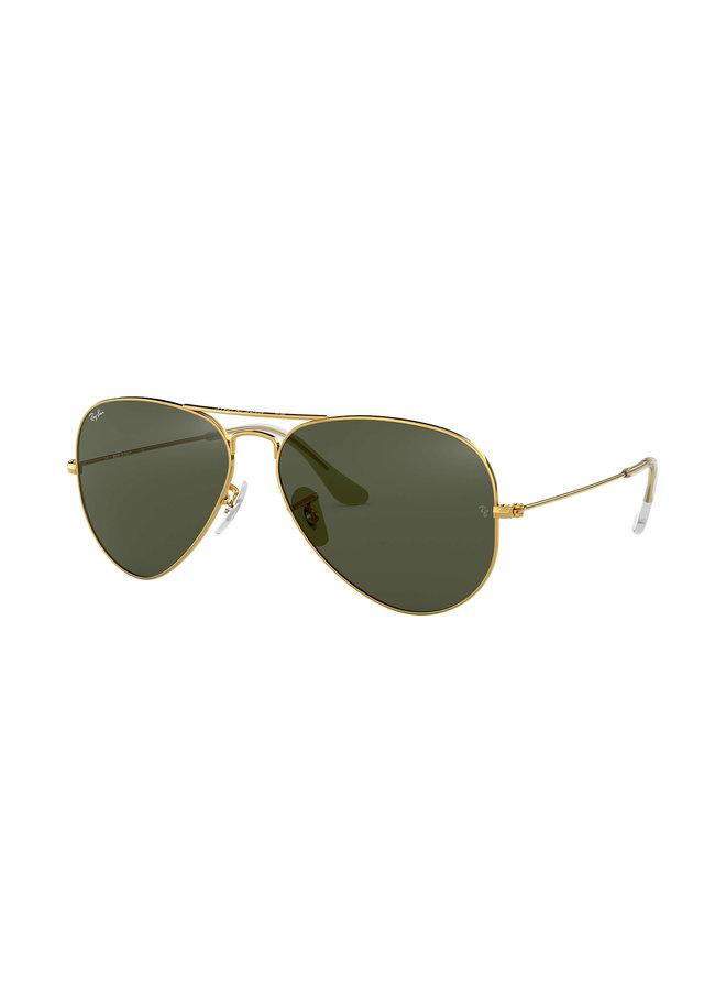 Aviator Metal Gold Sunglasses w/ Grey Green Lens