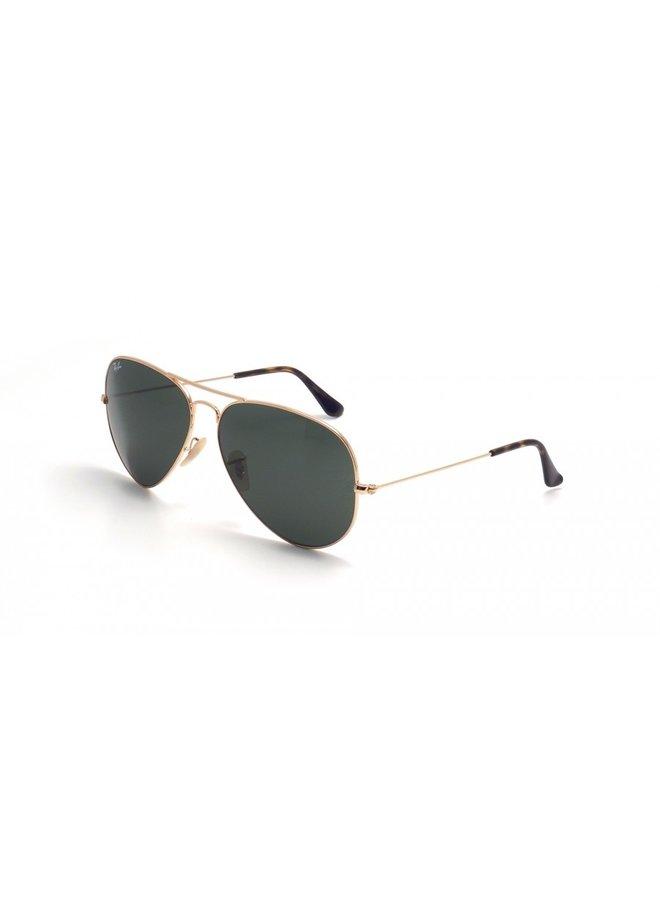 Aviator Metal Gold Sunglasses w/ Dark Green Lens