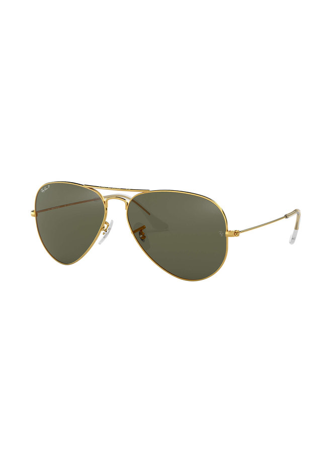 Aviator Metal Gold Sunglasses w/ Polarized Crystal Green Lens