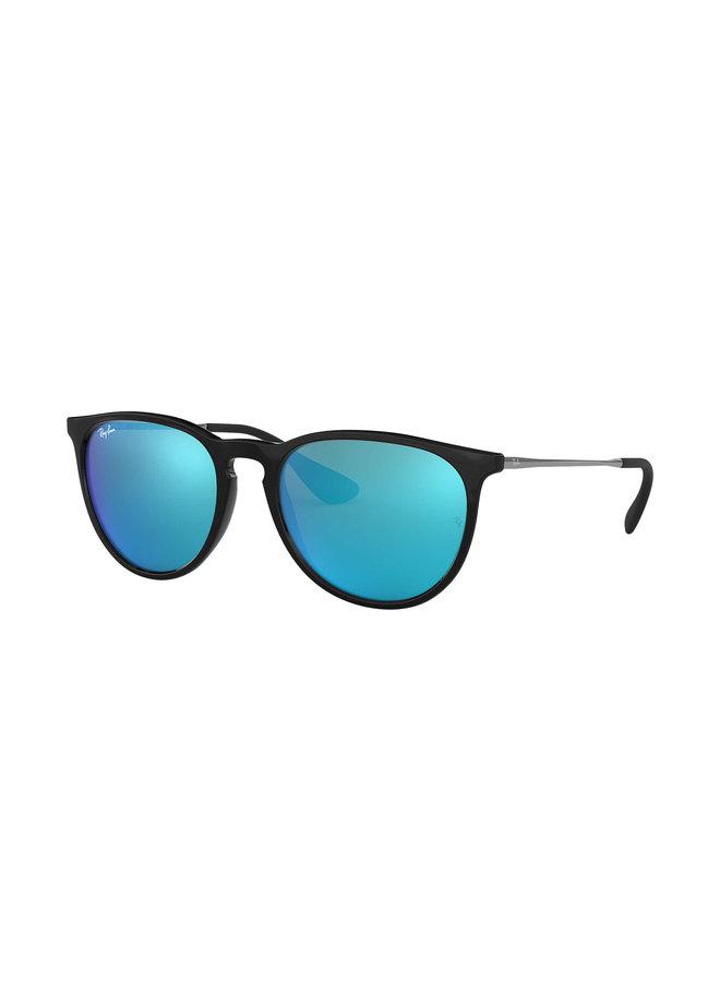 Erika Black Sunglasses w/ Lt. Green Mirror Blue Lens