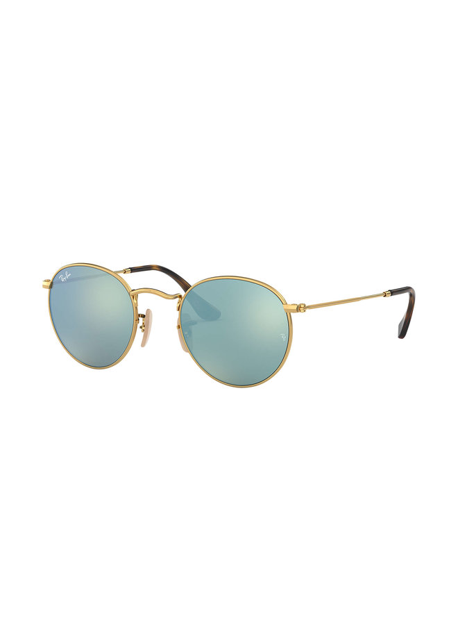 Round Metal Shiny Gold Sunglasses w/ Grey Flash Lens