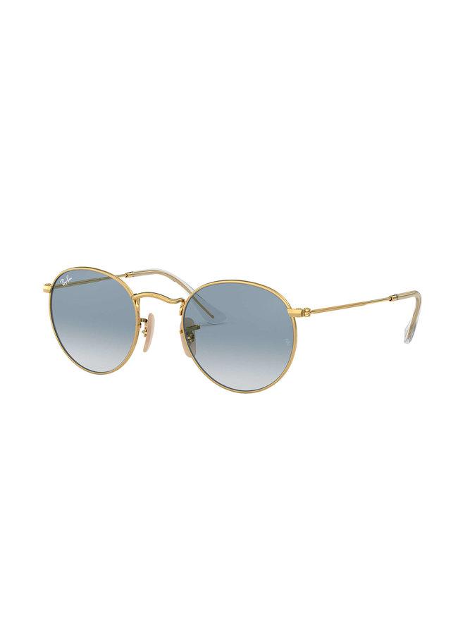 Round Metal Shiny Gold Sunglasses w/ Lt. Blue Flash Lens