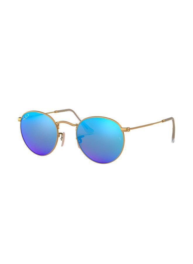 Round Metal Matte Gold Sunglasses w/ Polarized Blue Mirror Lens
