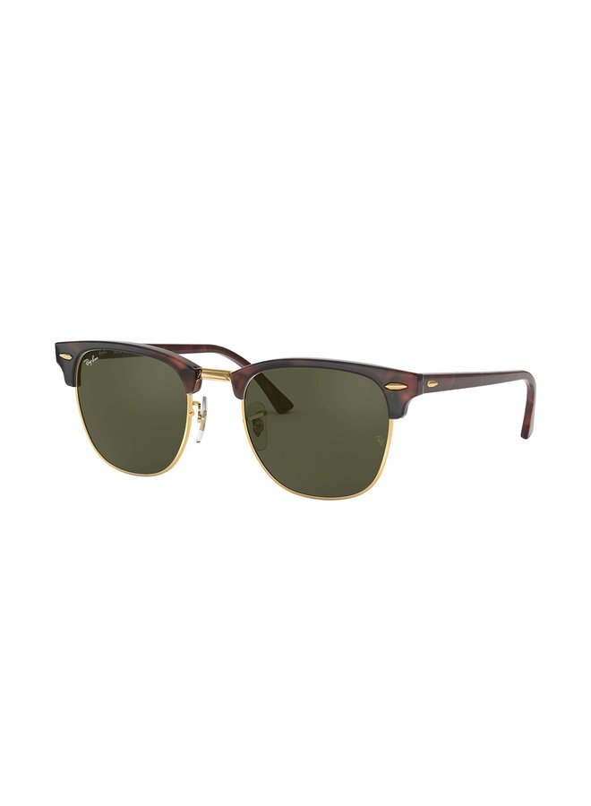Clubmaster Mock Tort Sunglasses w/ Green Lens