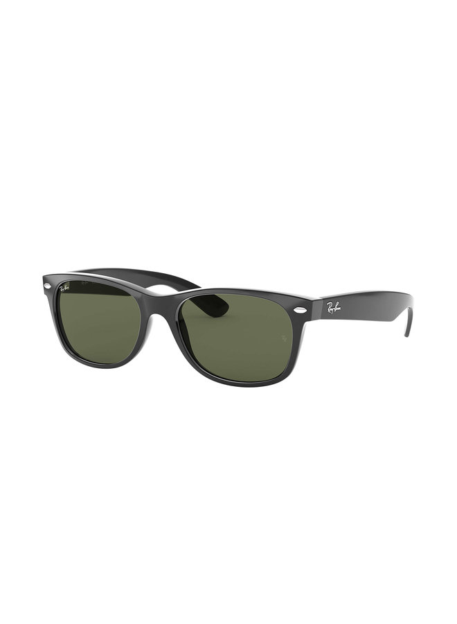 New Wayfarer Black Sunglasses w/ Crystal Green Lens
