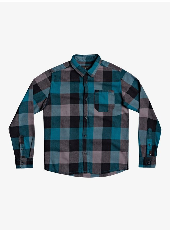 Boy's 8-16 Motherfly Flannel Long Sleeve Blue Coral