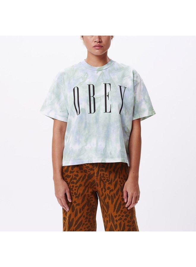Obey Women's New Custom Crop Tie Dye Tee- Blue/Green