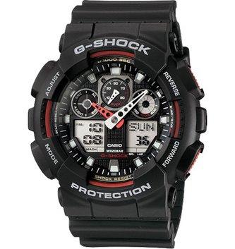 GSHOCK WATCHES GS-GA100-1A4 GS BIG CASE ANADIGI BLACK/RED