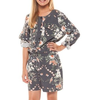 DEX JEANS ROLL UP SLV PRINTED ROMPER