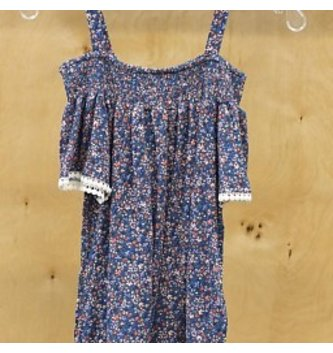 DEX JEANS COLD SHOULDER PRINTED DRESS
