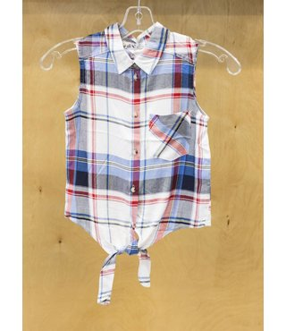 SLV/LESS FRT TIE PLAID SHIRT