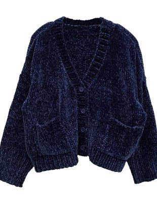RD INTERNATIONAL RD Int'l Cardigan Cropped L/Slv Fuzzy Button Up