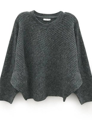 RD INTERNATIONAL RD Int'l Sweater Cropped L/Slv Crew Neck w/ Ribbed Detail