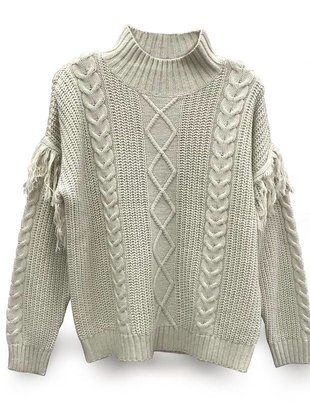 RD INTERNATIONAL RD Int'l Sweater L/SLv High Neck Cable Knit w/ Frill on Slvs