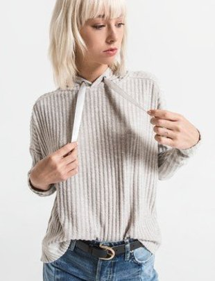 Others Follow Others Follow Sweater Brighton Ribbed Hooded Crop w/ Ribbon Drawstring