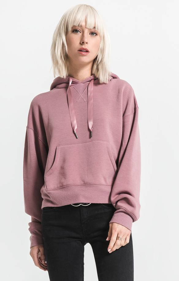 Others Follow Others Follow Sweater Ryder Crop w/ Sherpa Hood and Ribbon Drawstring