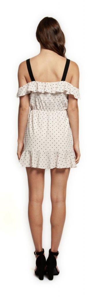 DEX Dex Dress S/Slv Cold Shoulder Polka Dot Mini