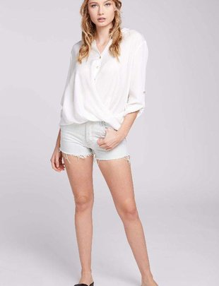 Everly Everly Blouse 3/4 Slv V Neck Button Top