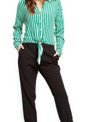 Black Tape Black Tape Blouse L/Slv Pin Stripe Shirt W/ Tie