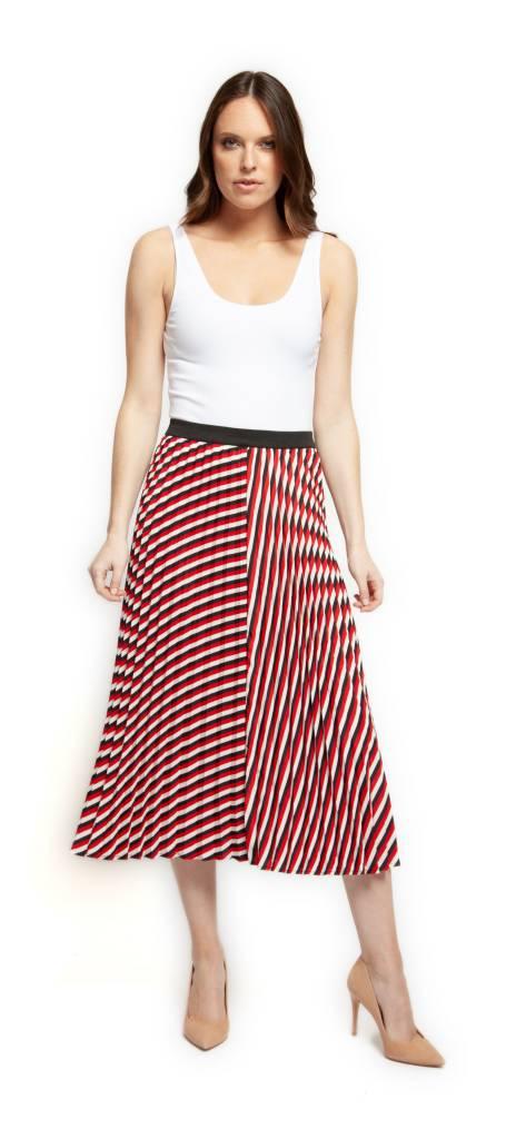 Black Tape Skirt Pleated Midi w/ Elastic Waist