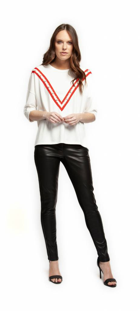 Black Tape Pants PU Front w/ Side Stripes + Waist Tie