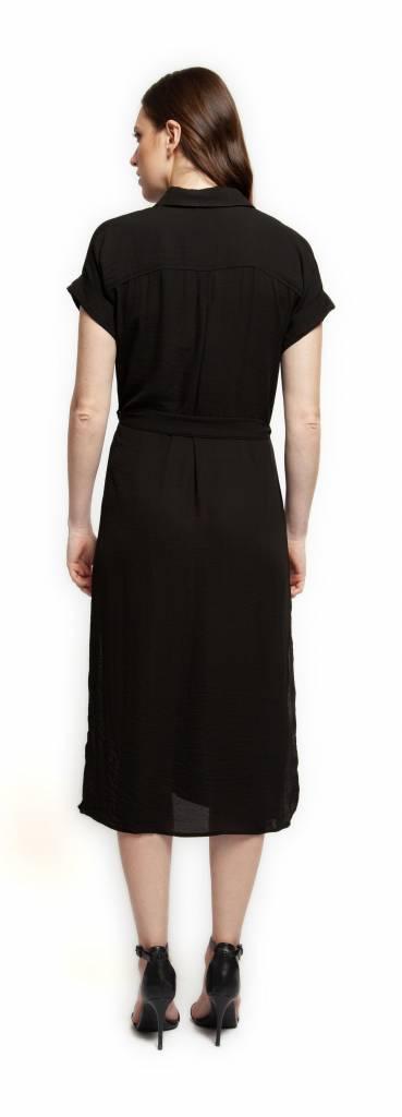 Black Tape Dress S/Sv Button Up w/ Front Pockets + Belt