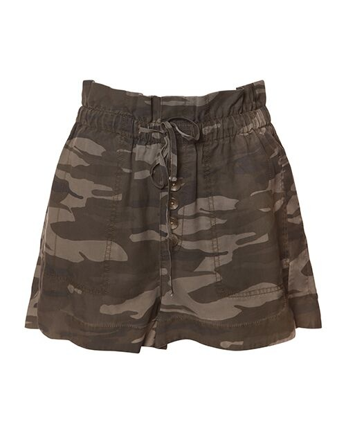Dex Shorts High Waisted Cargo Shorts w/ Button Detail & Tie