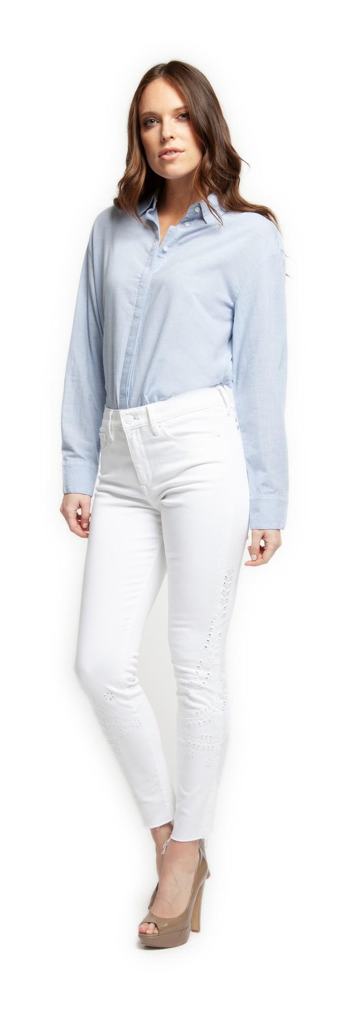 Black Tape Denim Mid Rise Embriodered Jeans w/ Raw Hem